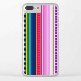 Mexican Serape Inspired Colorful Stripe Summer Fabric Clear iPhone Case