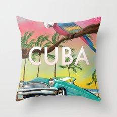 Cuba vintage travel poster print Throw Pillow