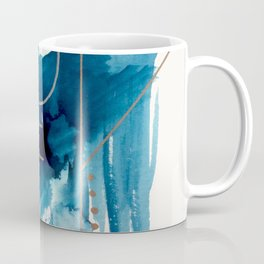 Beneath the Waves Series 2 - a blue and gold abstract mixed media set Coffee Mug