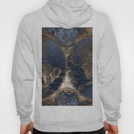 World Map Deep Blue and Gold Hoody