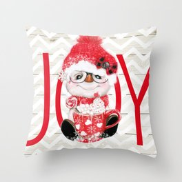 JOY - PEPPERMINT SNOWMAN Throw Pillow