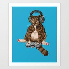 Gamer cat Xbox Art Print