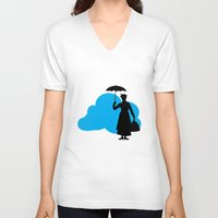 mary poppins V-neck T-shirts featuring mary poppins by notbook
