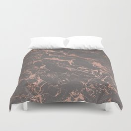 Modern Grey cement concrete on rose gold marble Duvet Cover
