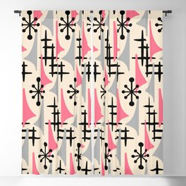 Mid Century Modern Atomic Wing Composition Pink & Grey Blackout Curtain