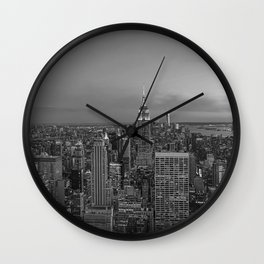 Manhattan sunset. Black and white photo Wall Clock