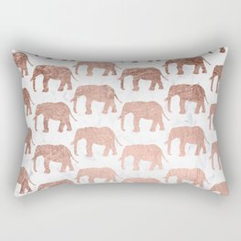 Modern faux rose gold elephants white marble Rectangular Pillow