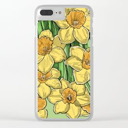 Yellow Daffodils line drawing Clear iPhone Case