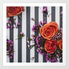 Botanical Stripes  Art Print
