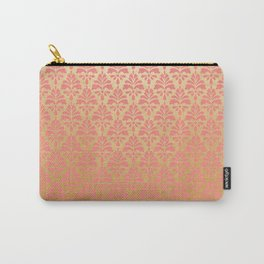 Modern chic coral faux gold floral elegant damask Carry-All Pouch