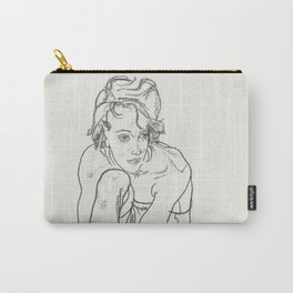 Vintage poster-Egon Schiele-Pencil sketches-Girl. Carry-All Pouch