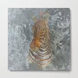 Taxidermy zebra head Metal Print