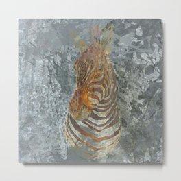 Taxidermy zebra head Metal Print