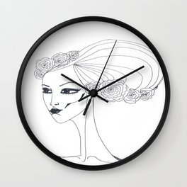 flowers in a hair Wall Clock