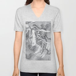 Butterflies in a gray abstract landscape Unisex V-Neck