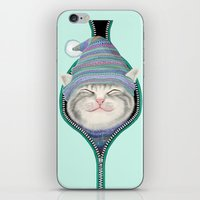 yetiland iPhone & iPod Skins featuring Cat in the zip by Tummeow