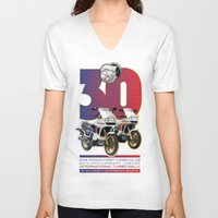 honda V-neck T-shirts featuring Honda First Turbo Club by Saddle Bums