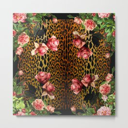 Leopard and Roses Metal Print