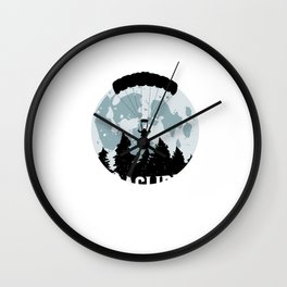 Paragliding Moon Paraglider Adventure Daredevil Gifts Wall Clock