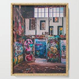Abandoned Building Graffiti Serving Tray