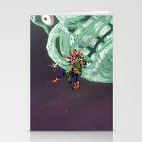 majoras mask Stationery Cards featuring Skull Kid Majoras Mask by Aaron Pittman