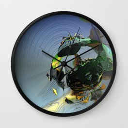 Mysterious Flying Vehicle Landing Wall Clock