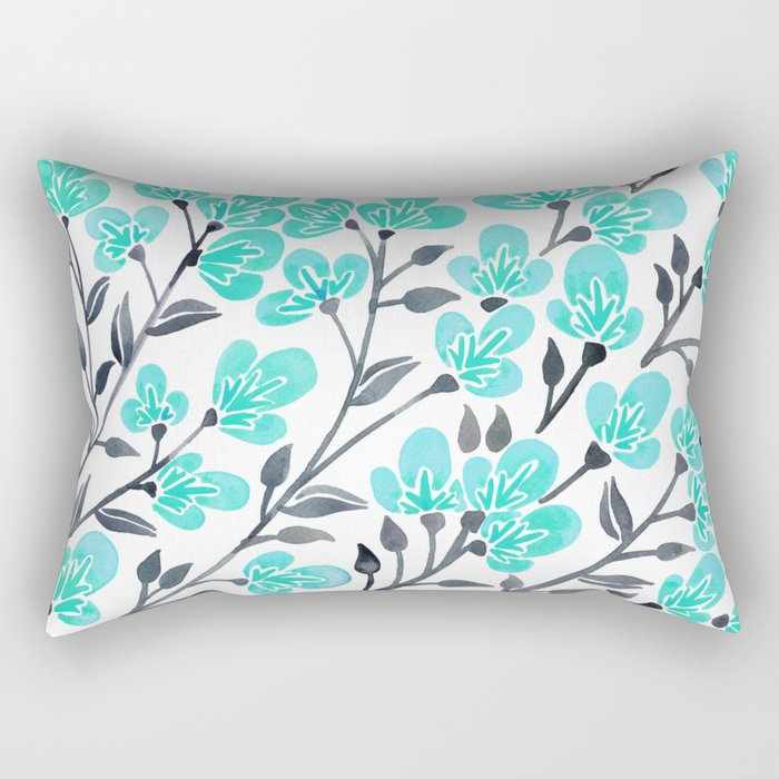 Cherry Blossoms – Turquoise & Black Palette Rectangular Pillow