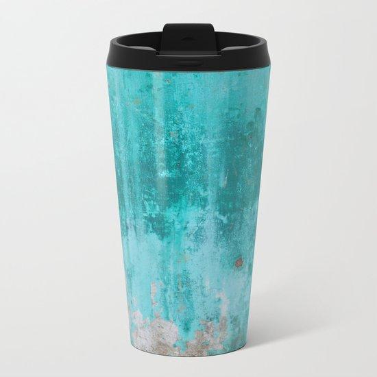 Weathered turquoise concrete wall texture Metal Travel Mug