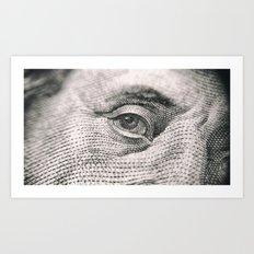 Ben Franklin ($100 Money Bill Illuminati) Art Print