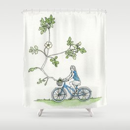 Bicycle Basket Shower Curtain