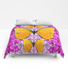 FUCHSIA COLORED  ORCHIDS &  YELLOW  BUTTERFLY FLORAL Comforters