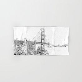 San Francisco Golden Gate Bridge Ink Drawing Hand & Bath Towel
