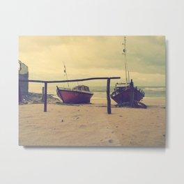Vintage fisherman boats Metal Print