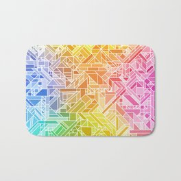 Bright Gradient (Hot Pink Orange Green Yellow Blue) Geometric Pattern Print Bath Mat