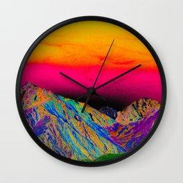 California's Sierra Mts-Digital Art, Green & Purple Wall Clock