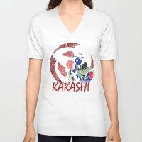 kakashi V-neck T-shirts featuring KAKASHI by BradixArt