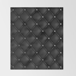 Black Quilted Leather Throw Blanket