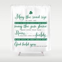 irish Shower Curtains featuring Irish Blessing by E. Phillips - Creative Designer