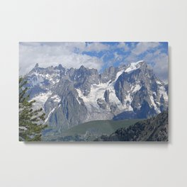 Snowy Mountain Peaks Green Meadows Alpine Landscape Metal Print