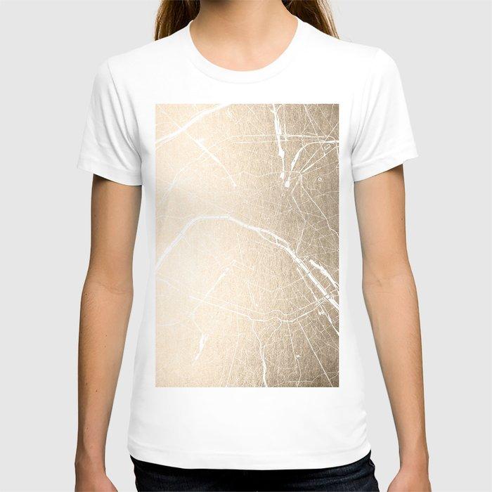 Paris France Minimal Street Map - Gold on White T-shirt