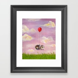 Balloon Ride - Guinea Pig With Balloon Framed Art Print