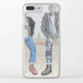 Punks On A Wall Clear iPhone Case