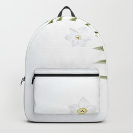Beautiful White Floral Flowers Minimalist Arrangement With Green Leaf Stem Photography Botanical Art Backpack