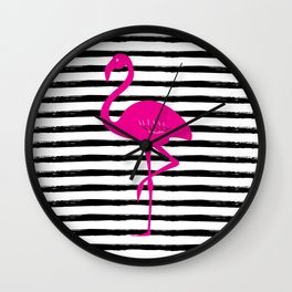 Flamingo & Stripes - Black / Pink Wall Clock