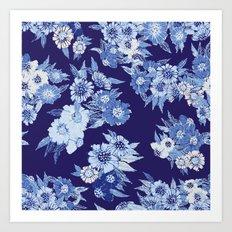 Floral pattern in Indigo Art Print