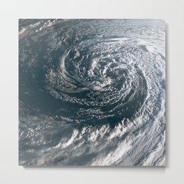 Hurricane on Earth viewed from space. Typhoon over planet Earth. Metal Print
