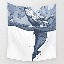 Hump Back Whale breaching in Stormy Seas with tiny boat - nautical themed illustration Wall Tapestry