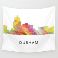 north carolina Wall Tapestries featuring Durham North Carolina Skyline by Marlene Watson