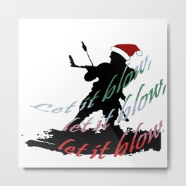 Let It Blow Christmas Holiday Kiteboarding Sport Metal Print