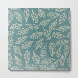 Dark Oak Leaf Pattern - Blue Metal Print